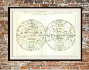 Map of the Globe from 1658 Old Vintage Antique Map, Globe Art, Earth Map, Print Drawing Art Item 0147