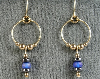 Gold-filled Hematite and Frosted Blue Glass Hoop Dangle Earrings