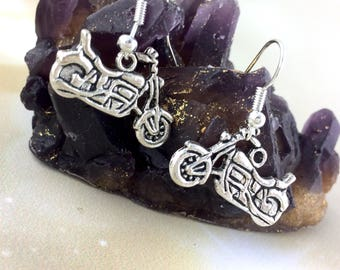 Sterling Silver Motorcycle Earrings - Womens Biker Gift For Her - Motorcycle Jewelry - Vintage Chopper Dangle Clip On Rocker Earrings J51