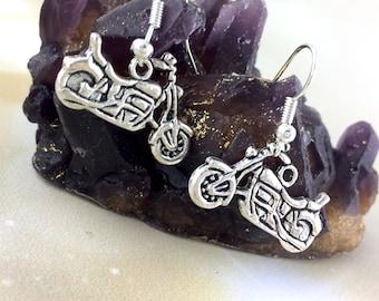 Sterling Silver Motorcycle Earrings - Womens Biker Gift For Her - Motorcycle Jewelry - Vintage Chopper Dangle Clip On Rocker Earrings