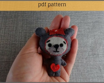 Teddy Bear Pattern-Valentine Bear-Bear Ornament-Bear Key ring-Bear Keychain-Felt Pattern-Felt PDF Pattern-Felt Patterns