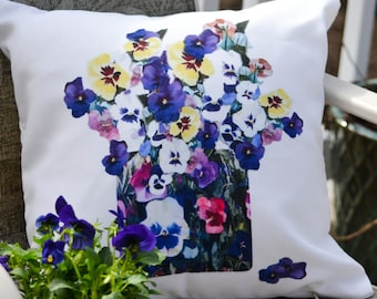 Outdoor Pillow Cover with Pillow Insert, Outdoor Pillow Cover, Spring Pansies