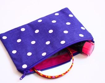 Purple spotty  purse, purple spotty fabric purse, spotty fabric cotton purse, cotton purse, purple coin purse, polka dot coin purse, UK shop