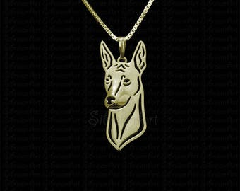 Peruvian Hairless Dog ( Peruvian Inca Orchid ) jewelry - gold pendant and necklace