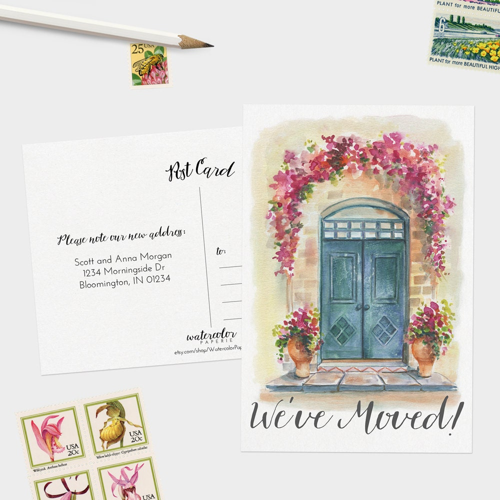 Weve moved postcards watercolor moving announcement zoom kristyandbryce Gallery