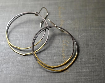 Steel & Gold Double Hoops- industrial hoops, large hoop earrings, hand forged steel, gold dipped, thin hoops, gold hoop earrings