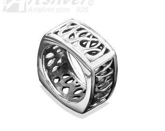 Sterling Silver Weave Design Woman's Ring - KS422