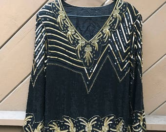 70s 80s Black Silk Beaded Sequin Top