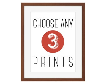 Choose any 3 prints from The Joyful Fox - multiple sizes available!