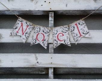 Noel Burlap Banner, Vintage Christmas Decor, Christmas Banner, Holiday Decor, Rustic Winter Decor, Holiday Photo Prop