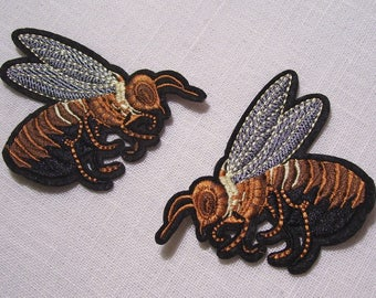 Hornet WaSP bee * 7 x 7 cm / choice * Applique badge patch embroidered iron - iron