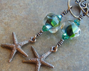 Copper Earrings Blue Green Lampwork Beads Swarovski Crystals Copper Starfish Sterling Silver On Sale