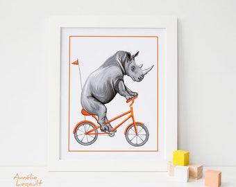Affiche rhinocéros à bicyclette, rhinocéros à vélo, affiche pour enfant, 5 x 7, 8 x 10, 11 x 14