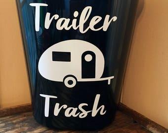 Trailer Trash Can- Plastic Trash Tan- Vinyl Trash Can- Vinyl Trailer Trash- Camper Trash Can- RV Trash Can- Camper Decor- Trailer Trash- RV