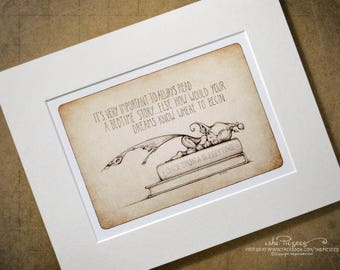 A mounted open edition art print of a Sleepytime Picture with a few special little words...
