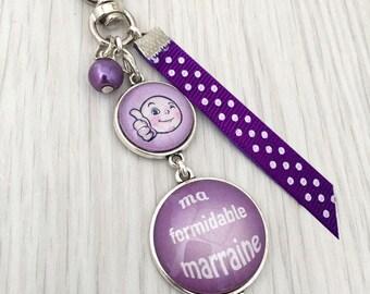 cadeau marraine porte-clés bijou de sac a message thème ma formidable marraine violet .REF.Sup3
