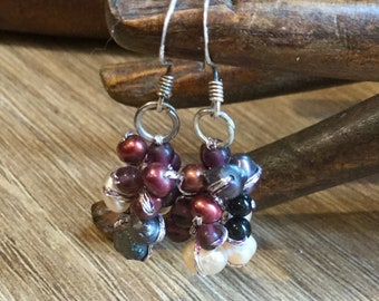 Coloured Fresh water Pearls / Cluster Earrings on Sterling Silver Hooks/ beige/ grey/ wine colour / Hand Crafted in Thailand