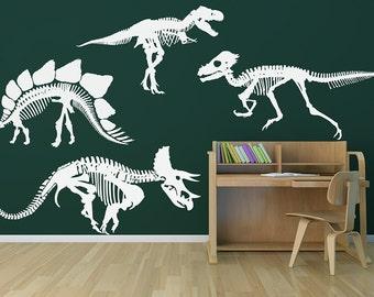 Dinosaur Skeletons Your Choice of One Wall Decal | stegasaurus wall art raptor trex triceratops wall sticker kids bedroom dinosaurs