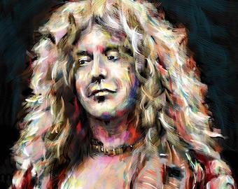Robert Plant Art, Led Zeppelin Painting , Zeppelin Original Art Print