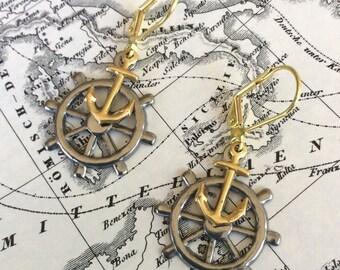 Anchor & Wheel Earrings