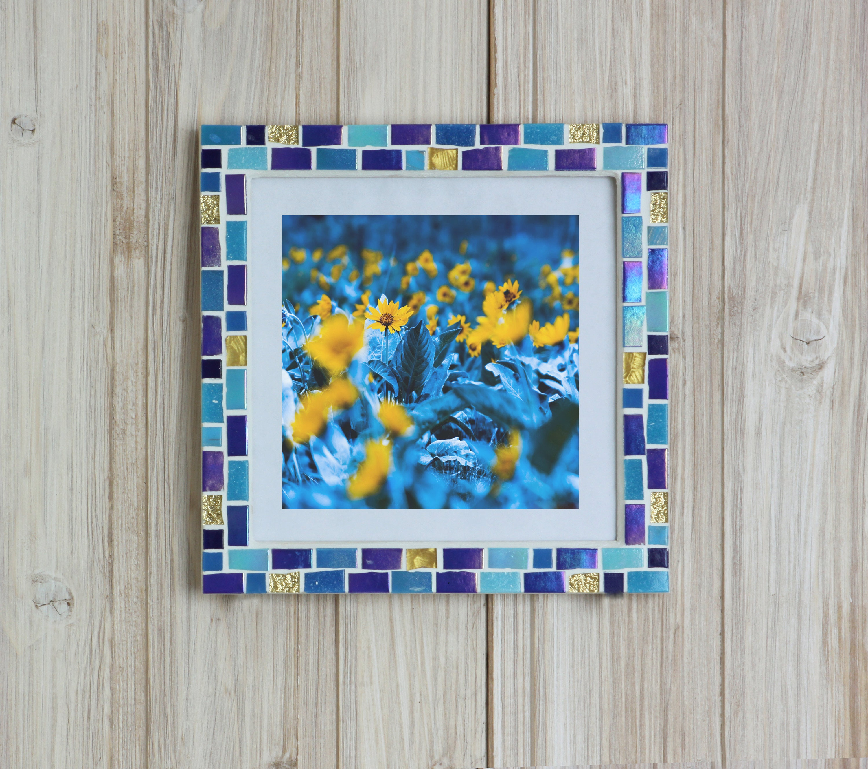7x7 frame - Mosaic wall photo frame - Blue frame - Photo frame 7x7 ...