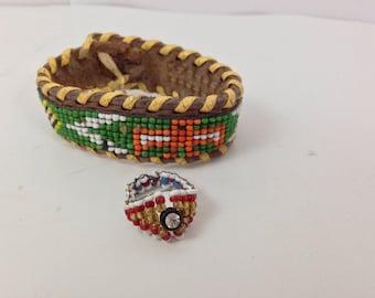 Vintage Native American Style War Eagle Child's Beaded Leather Bracelet & Ring