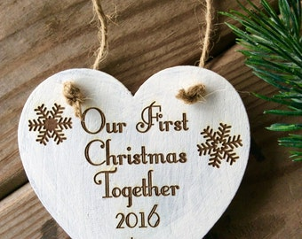 Mr. and Mrs. Christmas Ornament, Rustic Ornament, Personalized Ornament, Couple's ornament