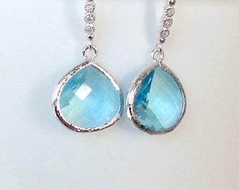 Aquamarine dangle earrings, aquamarine earrings, blue earrings, Girlfriend gift,Bridesmaids gift, birthstone gift