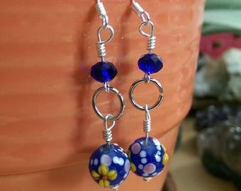 Hand-crafted Glass Czech Bead Earrings SS sterling silver Blue Cobalt