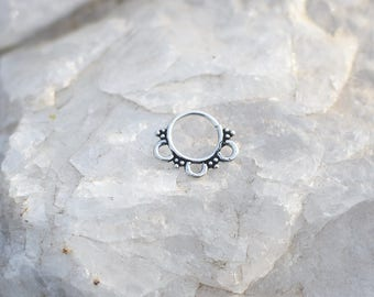 sterling silver septum ring helix tragus cartilage earring boucle d'oreille en argent piercing de nez