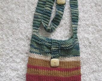 Small handknit cotton purse