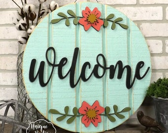 Summer Door Sign   Welcome Round Circle Door Hanger painted robins egg blue teal Flower   wood shiplap Rustic Farmhouse decor   Hanging sign