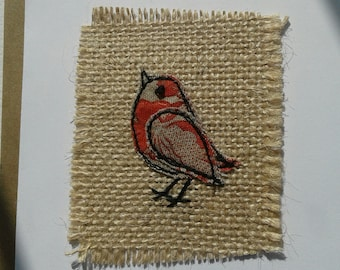 Original Textile Art Hand Made Bird Greetings Card