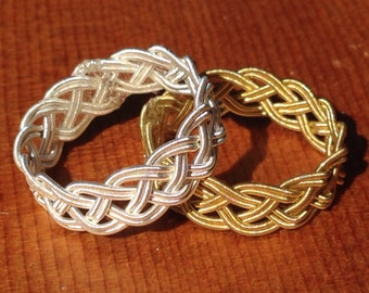 Guitar String Ring or Midi Ring, Gold or Silver Double Braid, 0.030 Gauge Strings