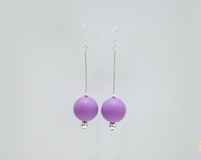 Purple silicone ball Drop Earrings.