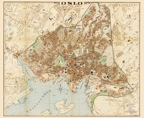 Map of Oslo 1938 Vintage Oslo map 4 sizes up to 43x36