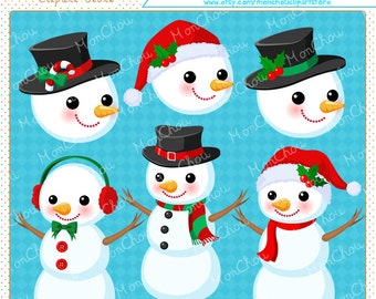 Snowman Clipart Set - For Commercial and Personal Use Cliparts