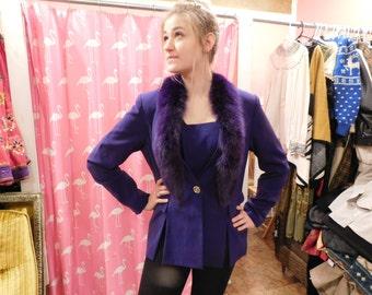 1980 purple Jacket with Faux Trim