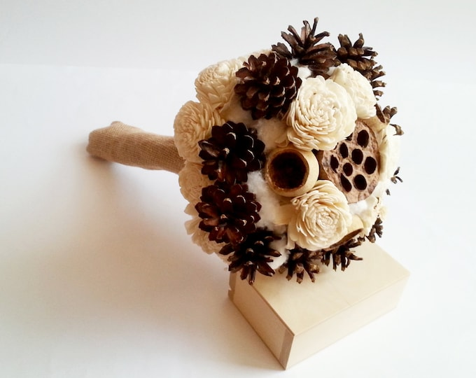 Ivory rustic pine cone BOUQUET sola flowers burlap winter wedding bell cup cotton autumn sola roses woodland