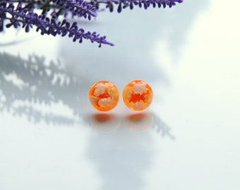 uv resin earrings/little sky and clouds/orange sky