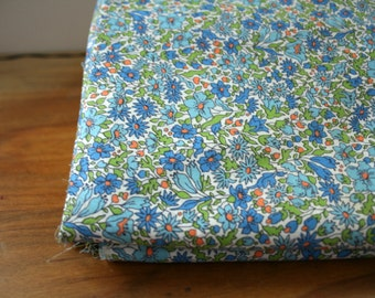 vintage 40s Sky & Cobalt Blue Flower Floral Print Cotton Quilting Fabric 4.5 Yards