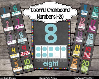 Colorful Chalkboard Number Posters 1-20 with ten frames - Digital Printable File - INSTANT DOWNLOAD