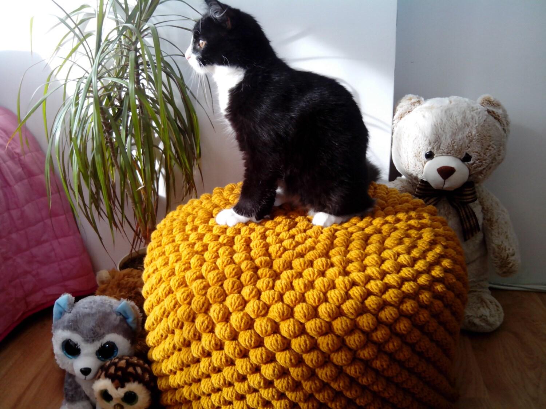 Crochet Mustard Yellow Round Stuffed Pouf Ottoman Knit # Muebles Saphire