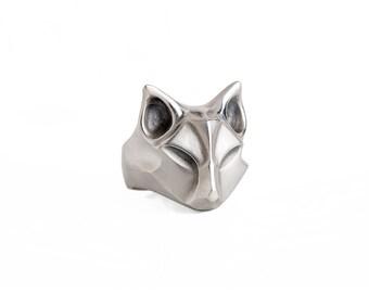 Silver Fox Ring, Fox jewelry, animal jewelry, animal ring