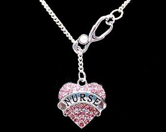 Stethoscope Nurse Gift Necklace, Pink Nurse Heart RN LPN Gift Y Lariat Necklace