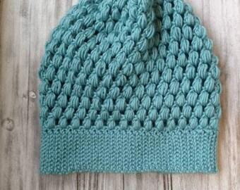Bubble stitch slouchy beanie/ woman's winter hat/stylish slouchy beanie