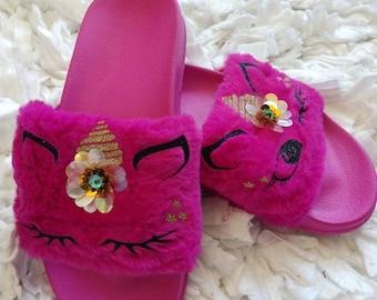 Pink unicorn slippers for girls, slippers, unicorn slippers baby, kids house shoes, pink slippers for girls, rainbow shoes for girls