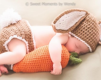 READY TO SHIP Newborn Bunny Baby Costume / Photo Prop - Hat, Diaper Cover, Carrot - Boys, Girls, Baby's First