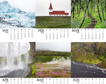 SALE 2018 Iceland Calendar - Photography calendar - Holiday gift - Travel gift- Gifts under 30 - Stocking stuffer idea