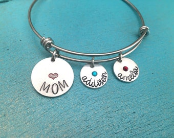 Personalized Mom Bangle Bracelet, Mothers Day Gift, Hand Stamped Birthday Gift For Mother, Gift For Mom, Kids Name Birthstone Bracelet